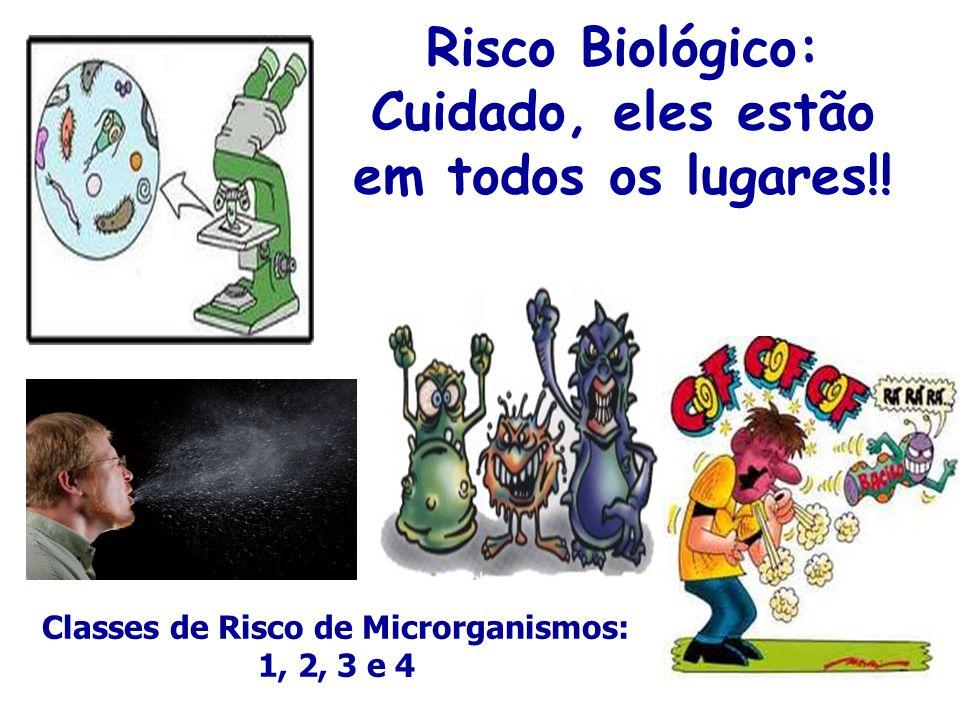 Risco Biológico: Cuidado, eles estão em todos os lugares!! Classes de Risco de Microrganismos: 1, 2, 3 e 4