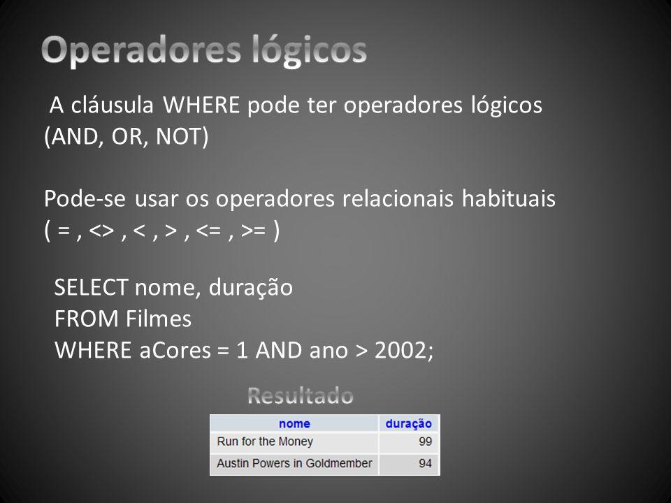 A cláusula WHERE pode ter operadores lógicos (AND, OR, NOT) Pode-se usar os operadores relacionais habituais ( =, <>,, = ) SELECT nome, duração FROM F