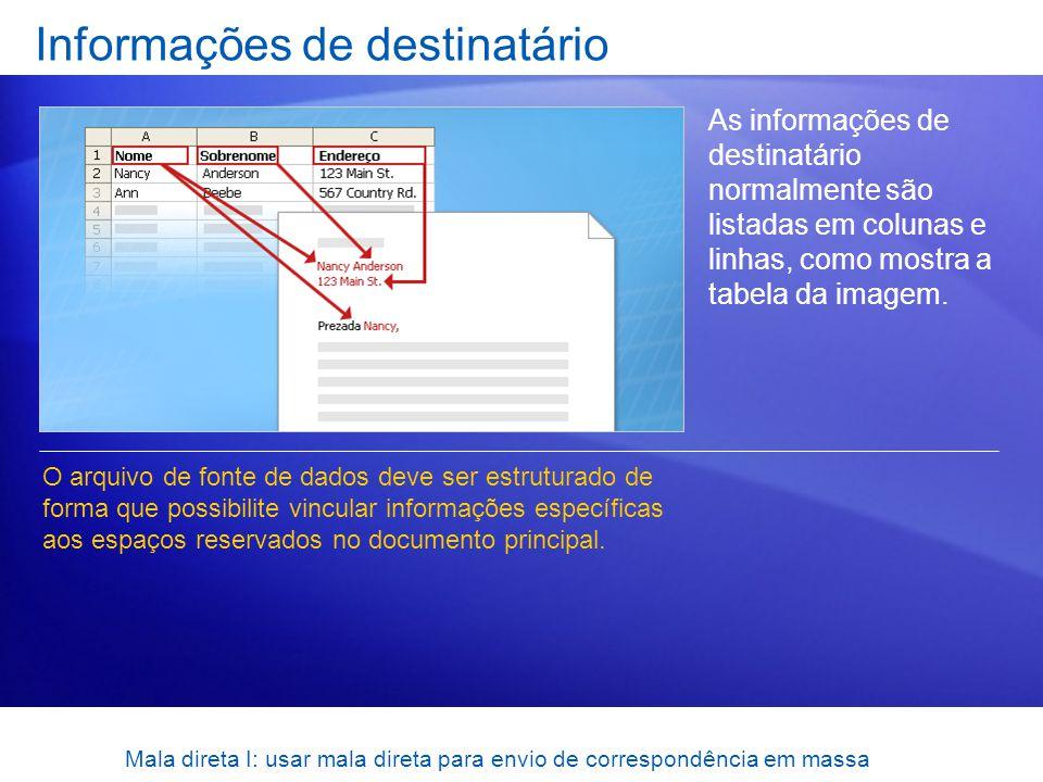 Mala direta I: usar mala direta para envio de correspondência em massa Informações de destinatário As informações de destinatário normalmente são list