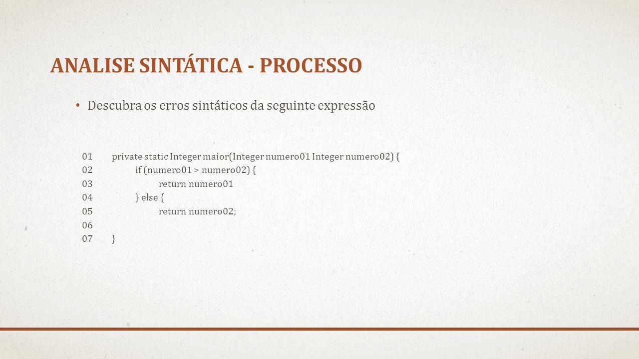 Descubra os erros sintáticos da seguinte expressão 01private static Integer maior(Integer numero01 Integer numero02) { 02if (numero01 > numero02) { 03