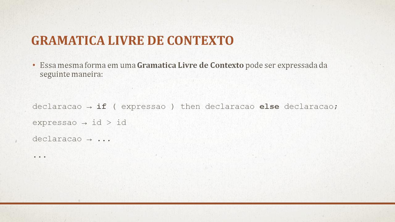 GRAMATICA LIVRE DE CONTEXTO Essa mesma forma em uma Gramatica Livre de Contexto pode ser expressada da seguinte maneira: declaracao → if ( expressao )