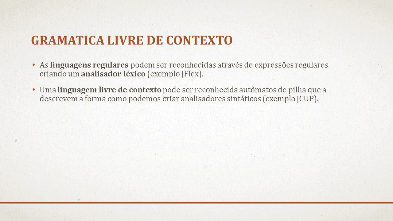 GRAMATICA LIVRE DE CONTEXTO As linguagens regulares podem ser reconhecidas através de expressões regulares criando um analisador léxico (exemplo JFlex