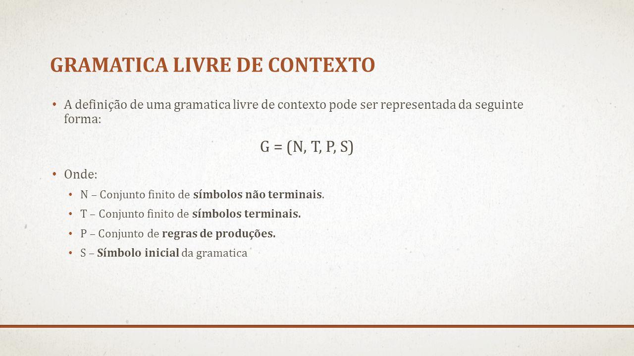 GRAMATICA LIVRE DE CONTEXTO A definição de uma gramatica livre de contexto pode ser representada da seguinte forma: G = (N, T, P, S) Onde: N – Conjunt