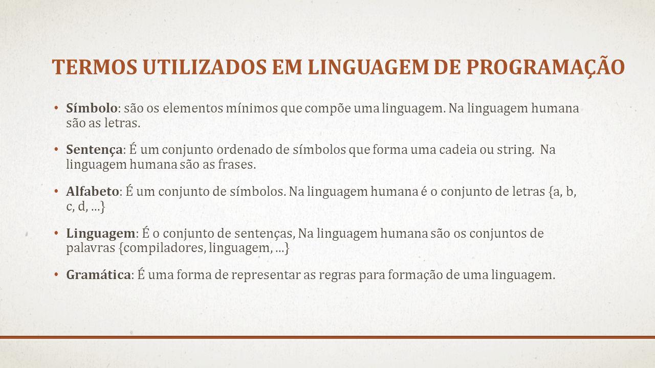 TERMOS UTILIZADOS EM LINGUAGEM DE PROGRAMAÇÃO Símbolo: são os elementos mínimos que compõe uma linguagem. Na linguagem humana são as letras. Sentença: