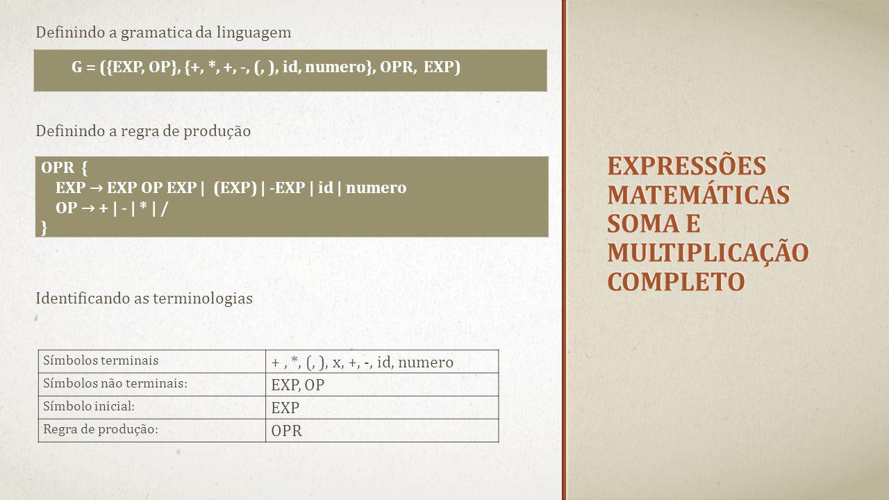 EXPRESSÕES MATEMÁTICAS SOMA E MULTIPLICAÇÃO COMPLETO Definindo a gramatica da linguagem G = ({EXP, OP}, {+, *, +, -, (, ), id, numero}, OPR, EXP) Defi