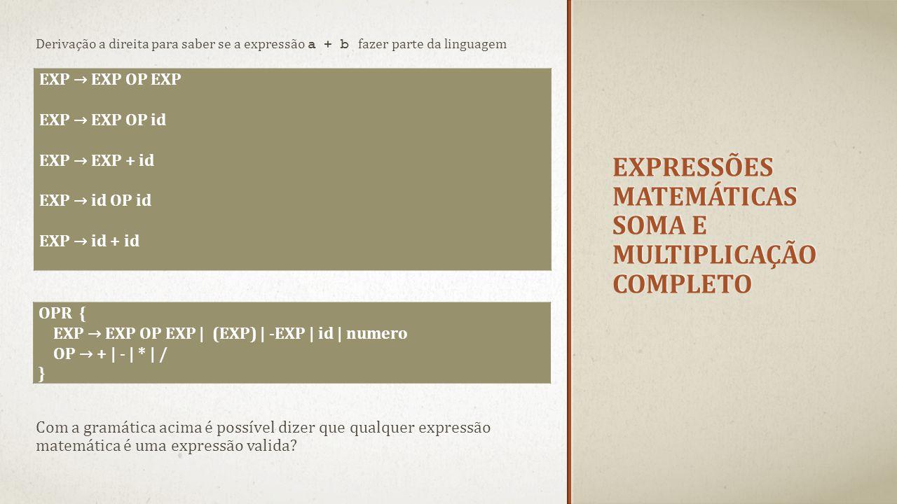 EXPRESSÕES MATEMÁTICAS SOMA E MULTIPLICAÇÃO COMPLETO Derivação a direita para saber se a expressão a + b fazer parte da linguagem EXP → EXP OP EXP EXP