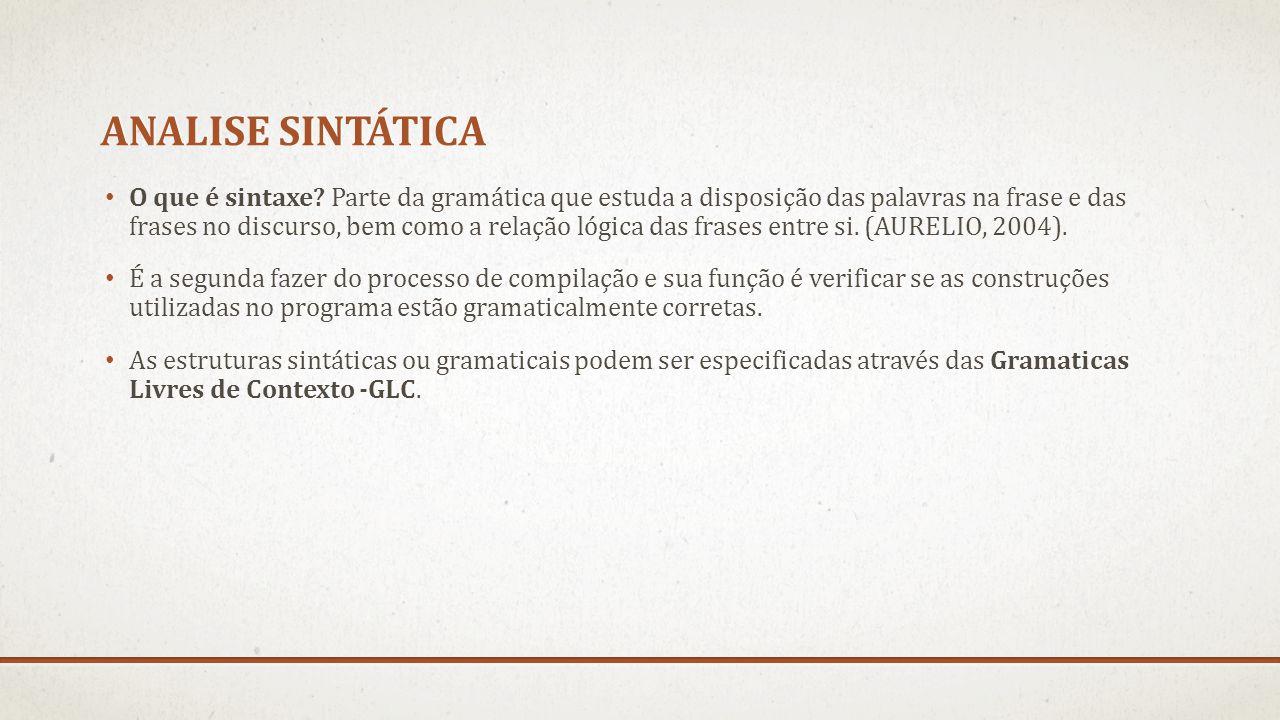 ANALISE SINTÁTICA O que é sintaxe? Parte da gramática que estuda a disposição das palavras na frase e das frases no discurso, bem como a relação lógic