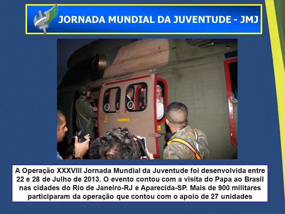 A Operação XXXVIII Jornada Mundial da Juventude foi desenvolvida entre 22 e 28 de Julho de 2013. O evento contou com a visita do Papa ao Brasil nas ci