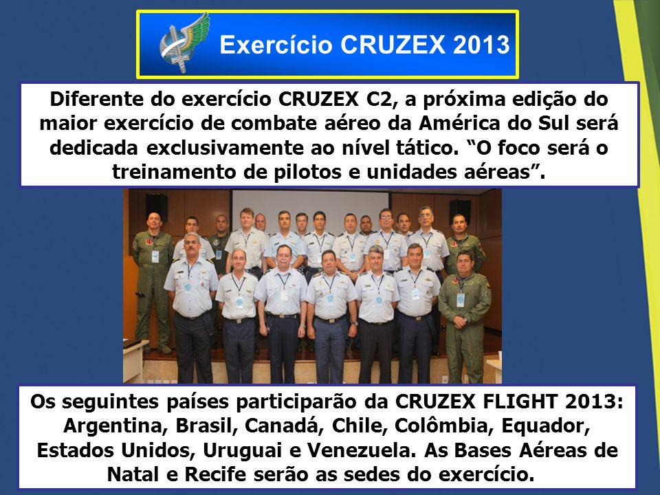 Os seguintes países participarão da CRUZEX FLIGHT 2013: Argentina, Brasil, Canadá, Chile, Colômbia, Equador, Estados Unidos, Uruguai e Venezuela. As B