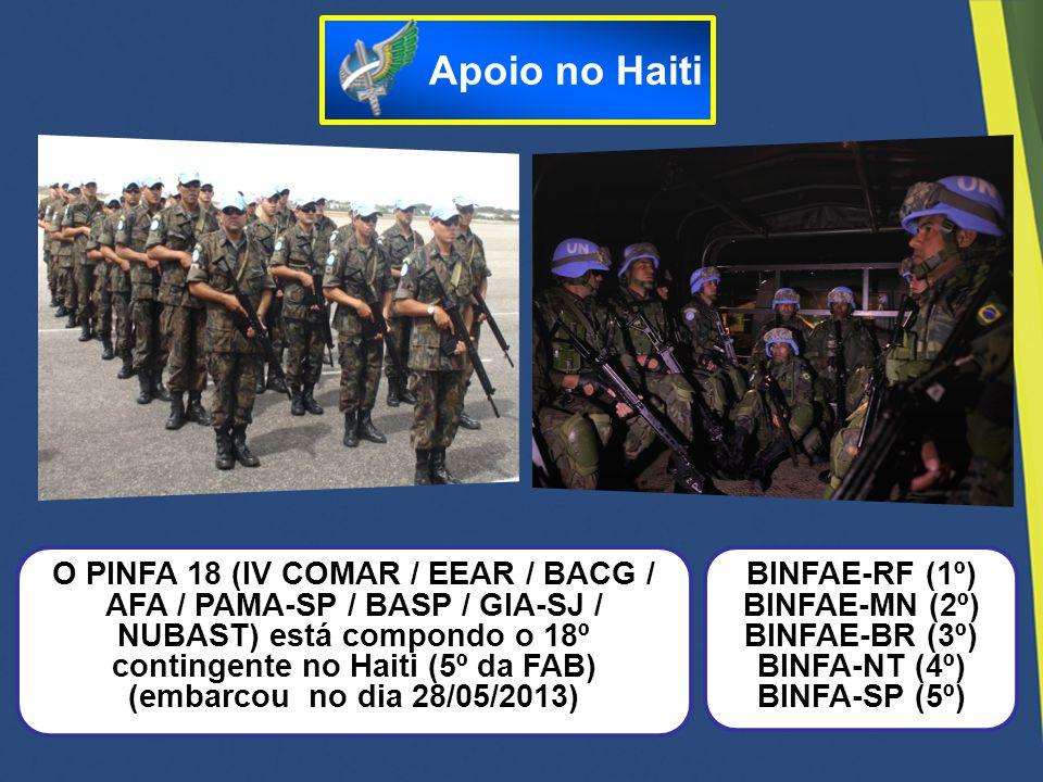 O PINFA 18 (IV COMAR / EEAR / BACG / AFA / PAMA-SP / BASP / GIA-SJ / NUBAST) está compondo o 18º contingente no Haiti (5º da FAB) (embarcou no dia 28/