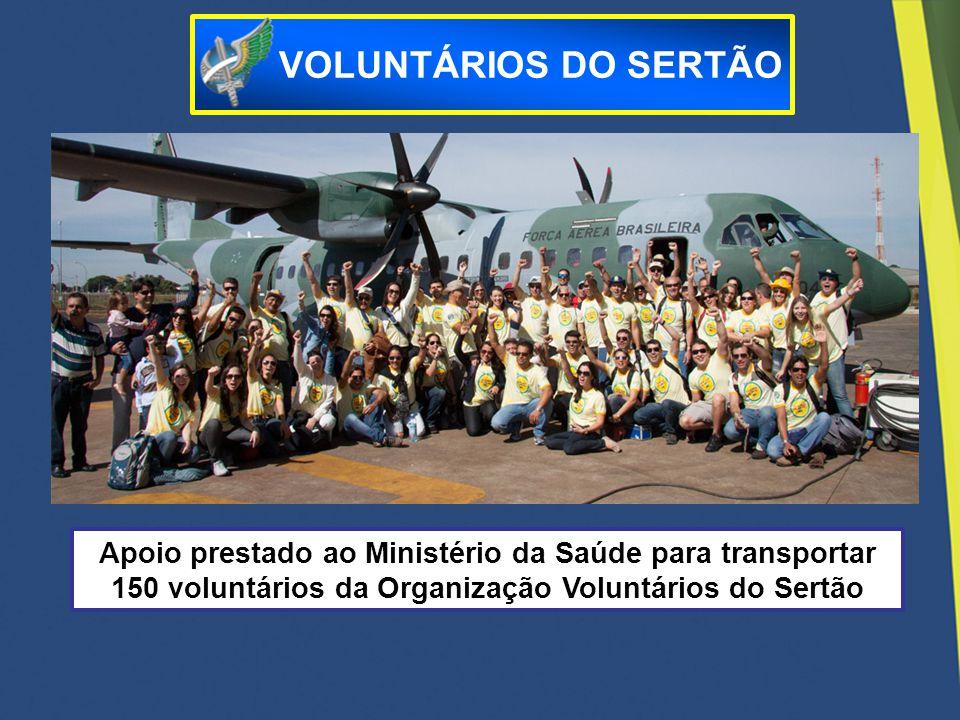 Apoio prestado ao Ministério da Saúde para transportar 150 voluntários da Organização Voluntários do Sertão VOLUNTÁRIOS DO SERTÃO