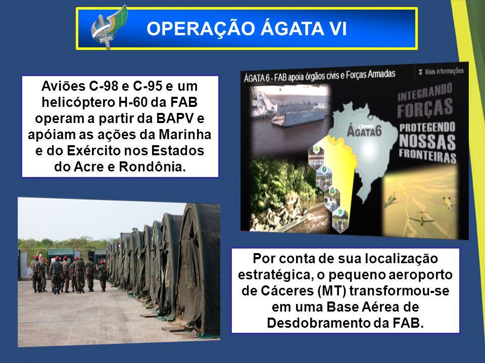 Por conta de sua localização estratégica, o pequeno aeroporto de Cáceres (MT) transformou-se em uma Base Aérea de Desdobramento da FAB. Aviões C-98 e