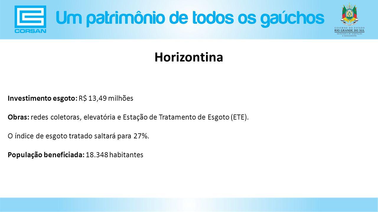 Investimento esgoto: R$ 13,49 milhões Obras: redes coletoras, elevatória e Estação de Tratamento de Esgoto (ETE).