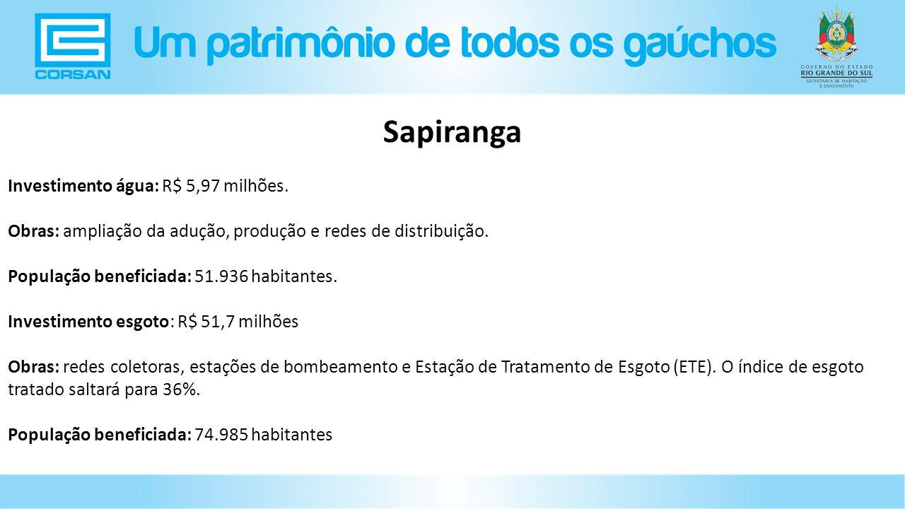 Investimento água: R$ 5,97 milhões.Obras: ampliação da adução, produção e redes de distribuição.