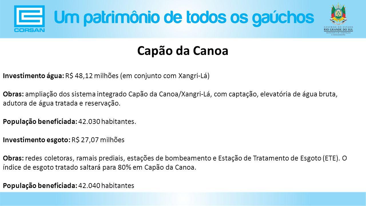 Investimento água: R$ 48,12 milhões (em conjunto com Xangri-Lá) Obras: ampliação dos sistema integrado Capão da Canoa/Xangri-Lá, com captação, elevatória de água bruta, adutora de água tratada e reservação.