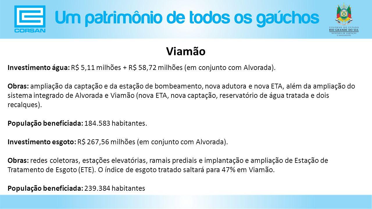 Investimento água: R$ 5,11 milhões + R$ 58,72 milhões (em conjunto com Alvorada).