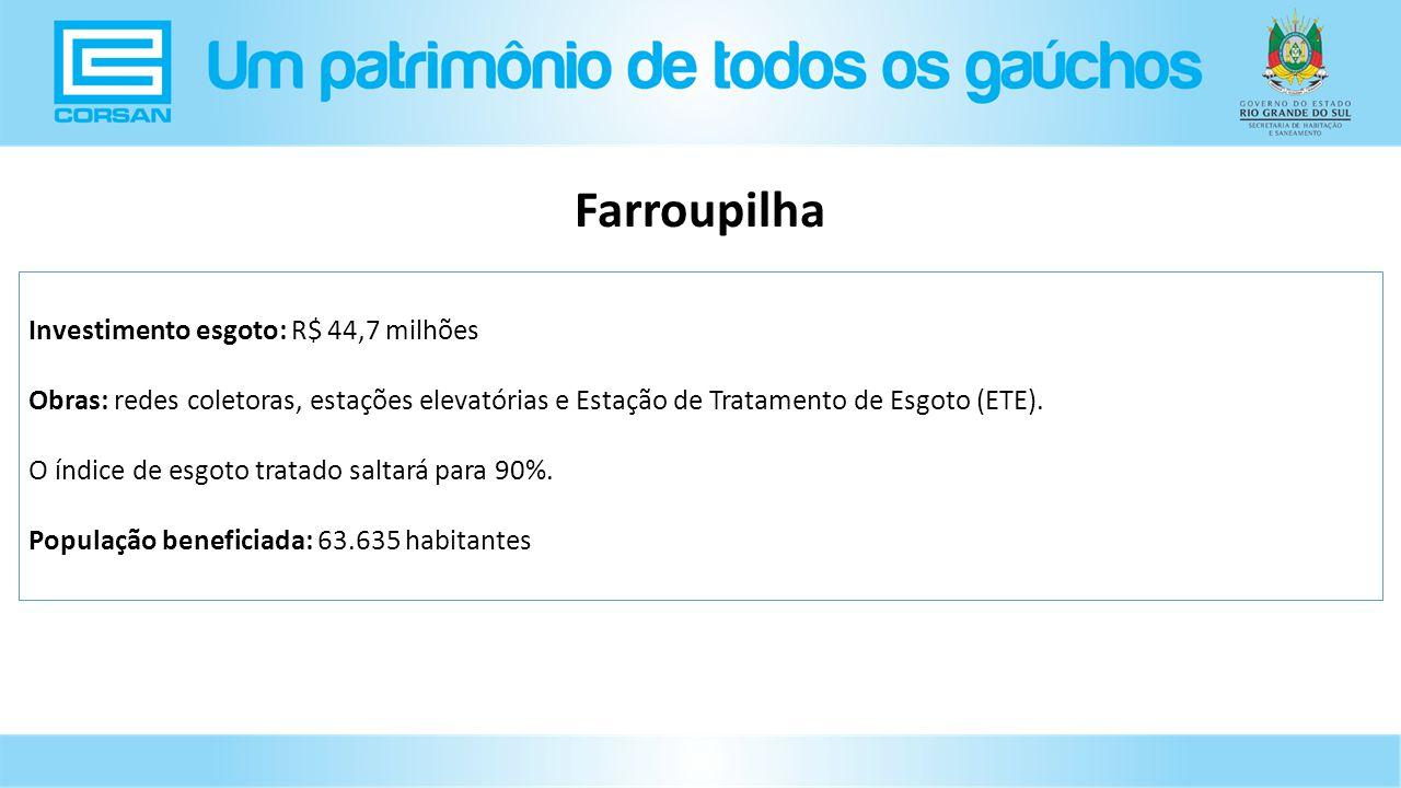 Investimento esgoto: R$ 44,7 milhões Obras: redes coletoras, estações elevatórias e Estação de Tratamento de Esgoto (ETE).