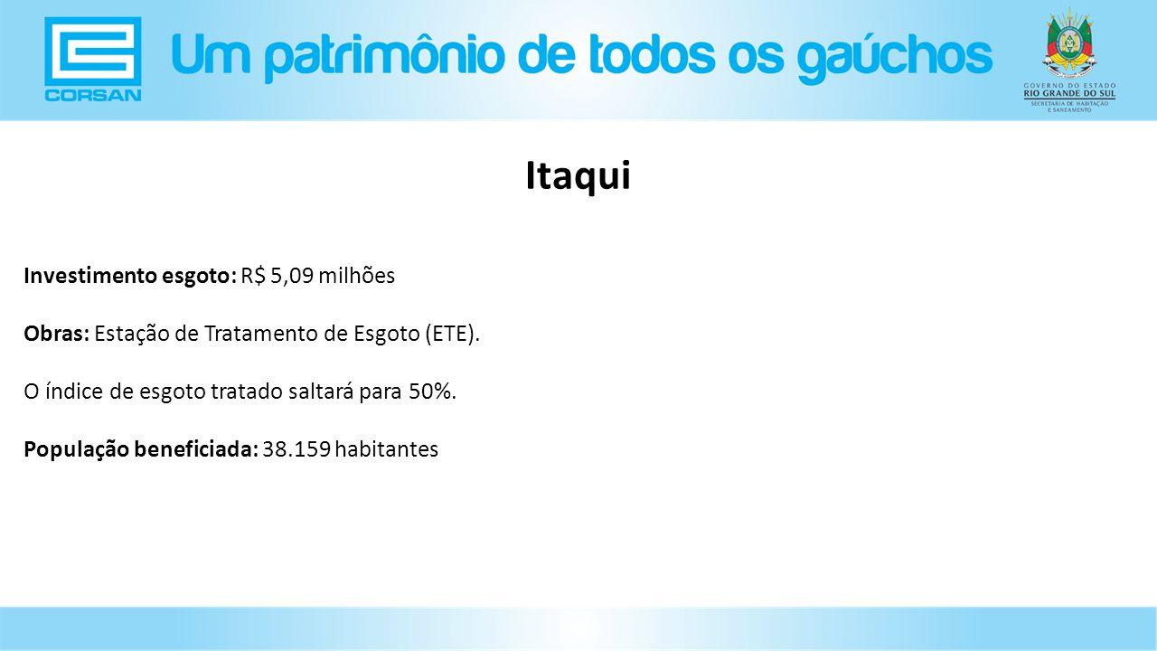 Investimento esgoto: R$ 5,09 milhões Obras: Estação de Tratamento de Esgoto (ETE).