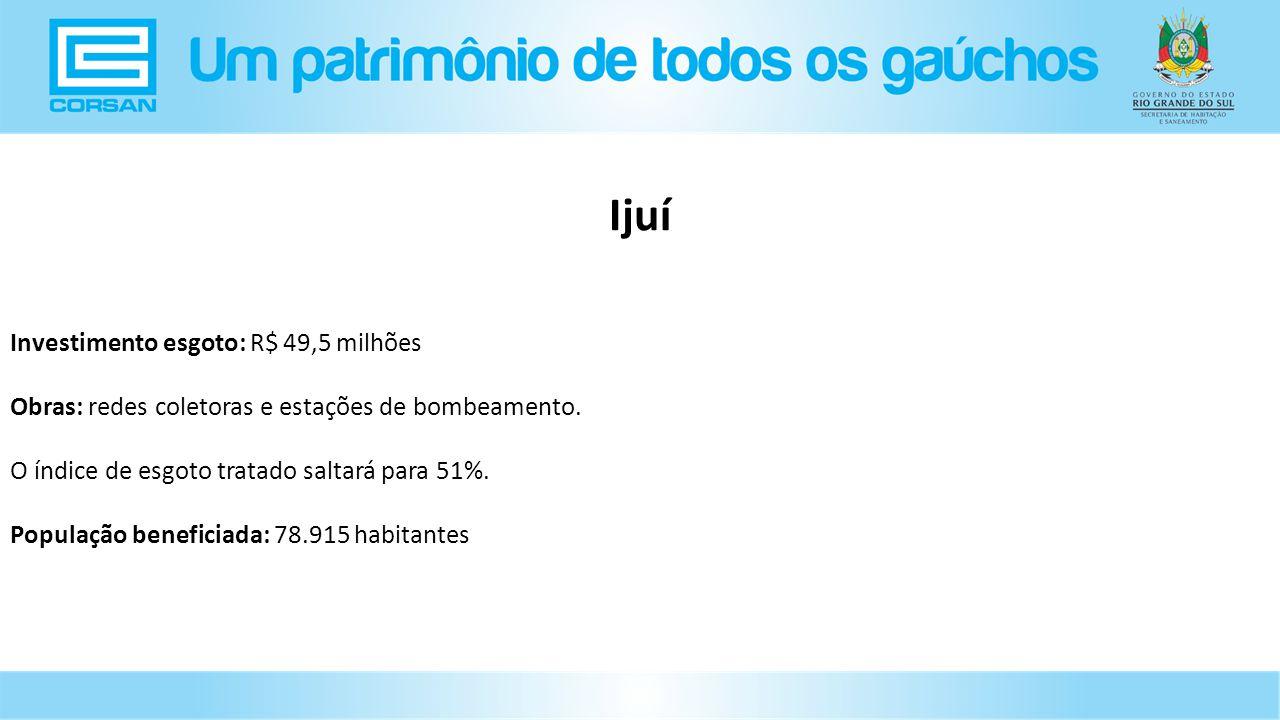 Investimento esgoto: R$ 49,5 milhões Obras: redes coletoras e estações de bombeamento.