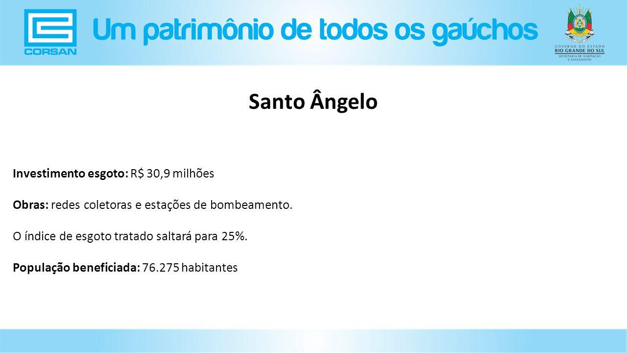 Investimento esgoto: R$ 30,9 milhões Obras: redes coletoras e estações de bombeamento.