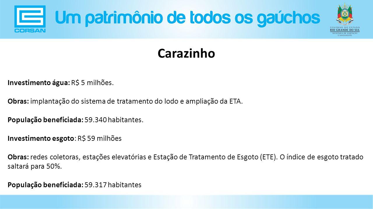 Investimento água: R$ 5 milhões.