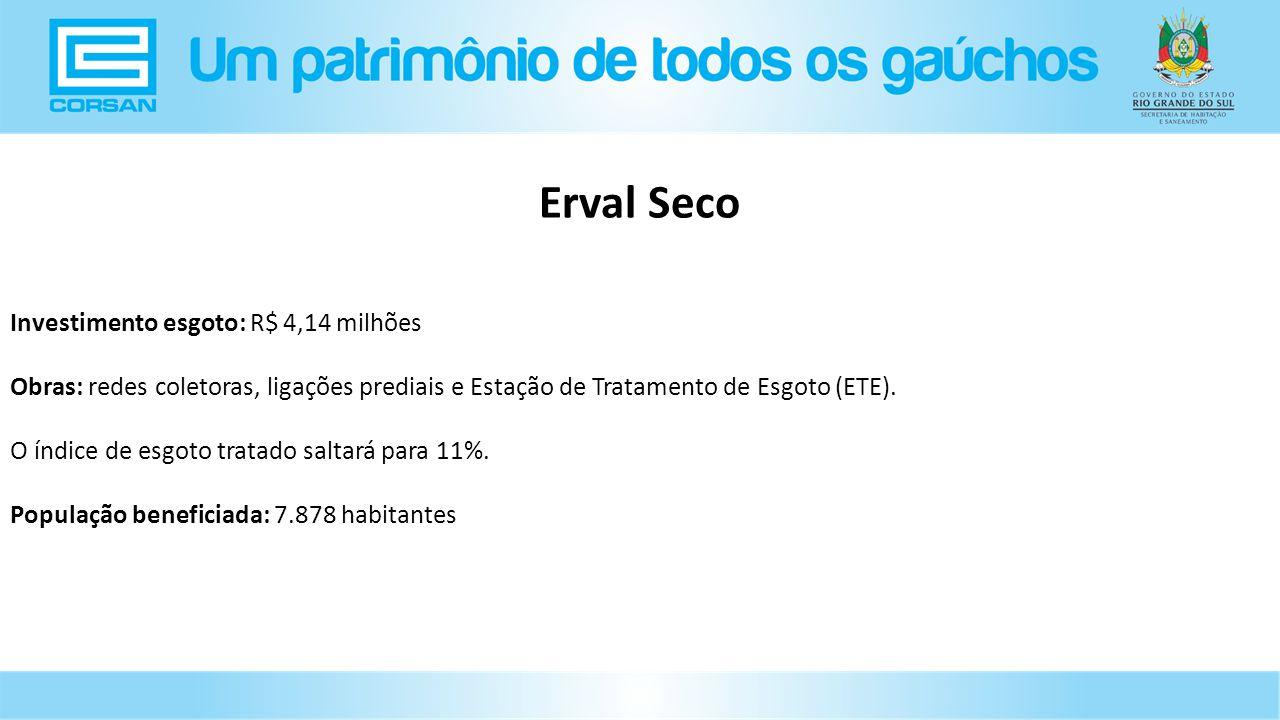 Investimento esgoto: R$ 4,14 milhões Obras: redes coletoras, ligações prediais e Estação de Tratamento de Esgoto (ETE).