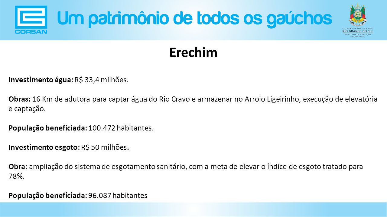 Investimento água: R$ 33,4 milhões.