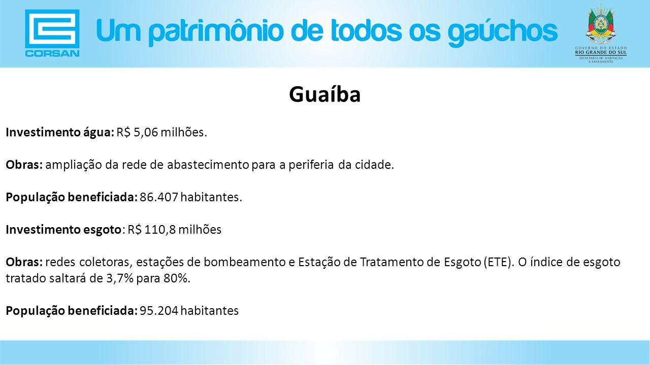 Investimento água: R$ 5,06 milhões.