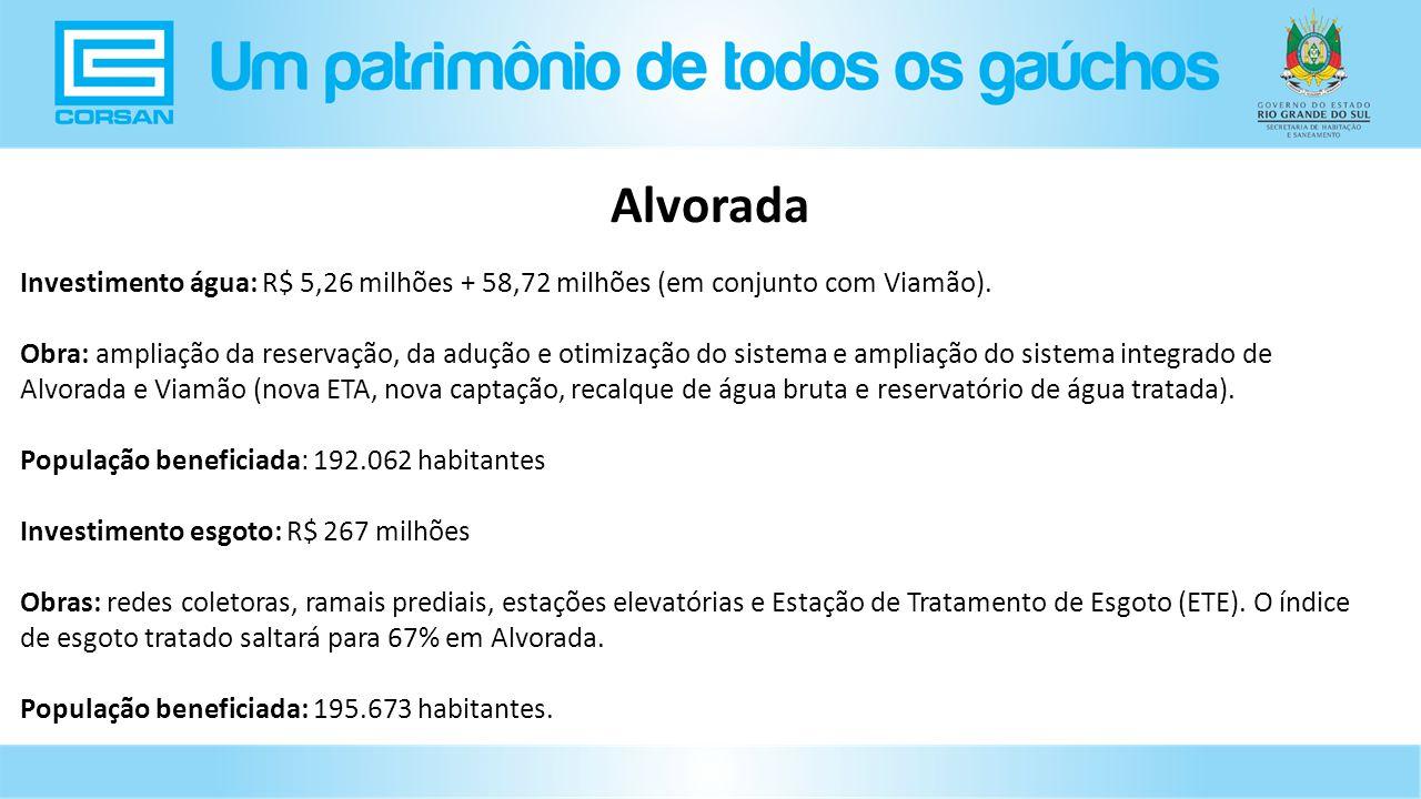 Investimento água: R$ 5,26 milhões + 58,72 milhões (em conjunto com Viamão).