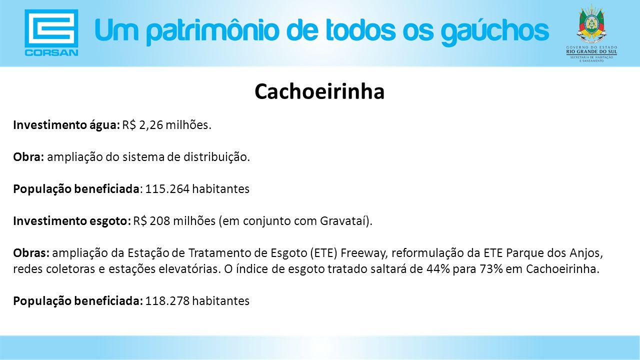 Investimento água: R$ 2,26 milhões.Obra: ampliação do sistema de distribuição.