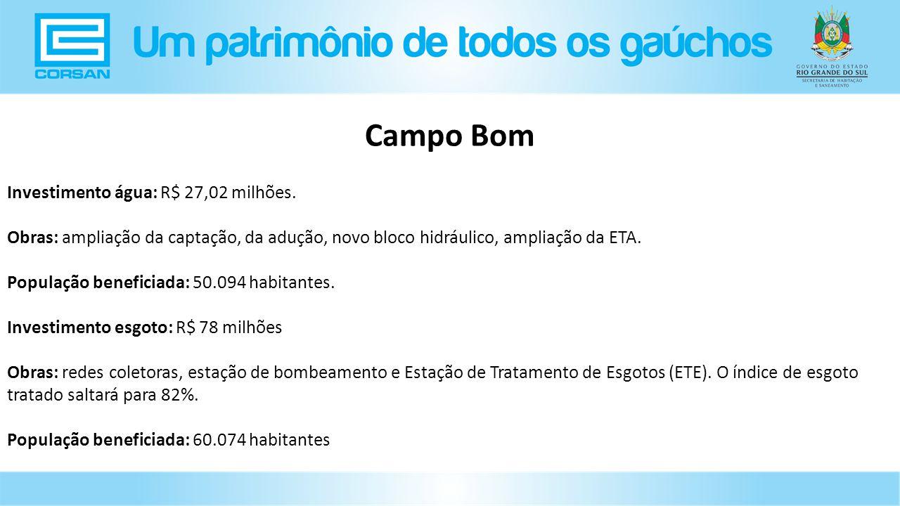 Investimento água: R$ 27,02 milhões.