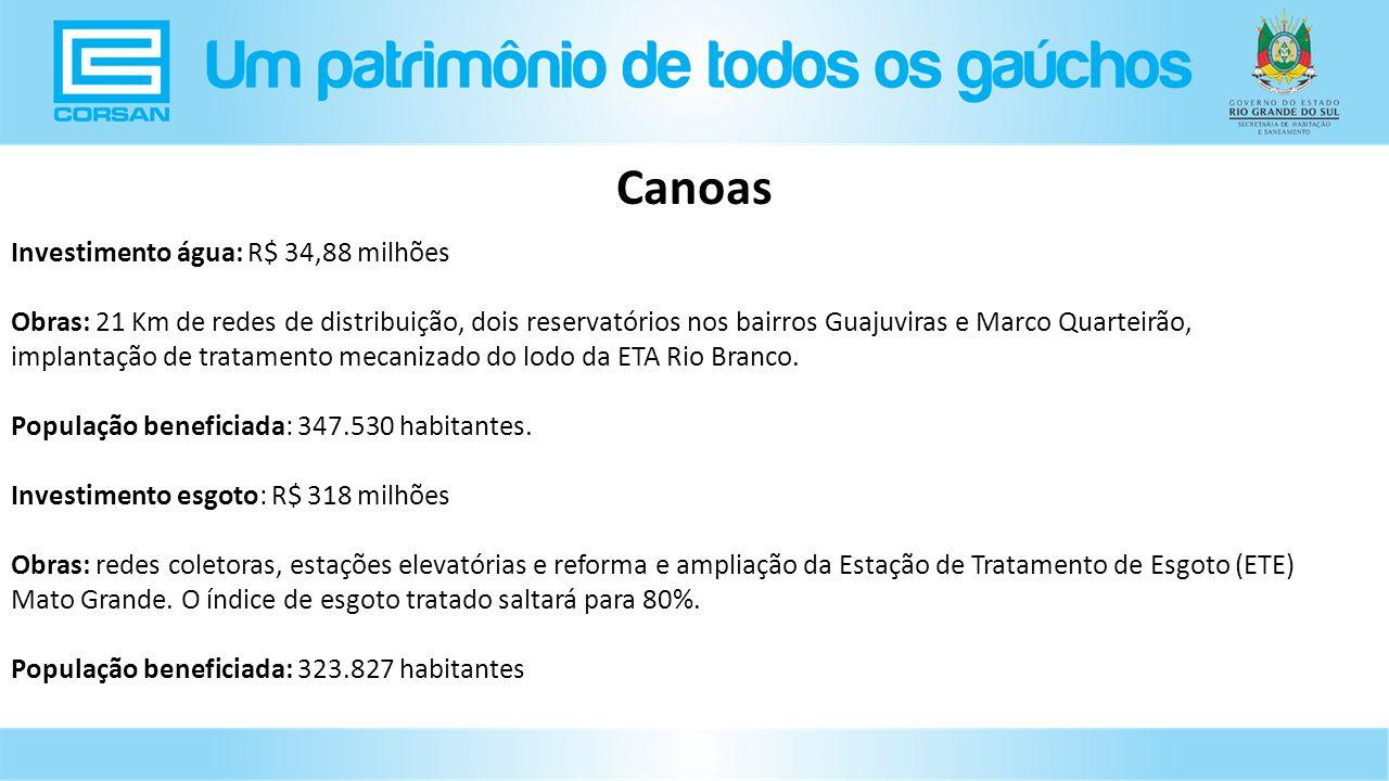 Investimento água: R$ 34,88 milhões Obras: 21 Km de redes de distribuição, dois reservatórios nos bairros Guajuviras e Marco Quarteirão, implantação de tratamento mecanizado do lodo da ETA Rio Branco.
