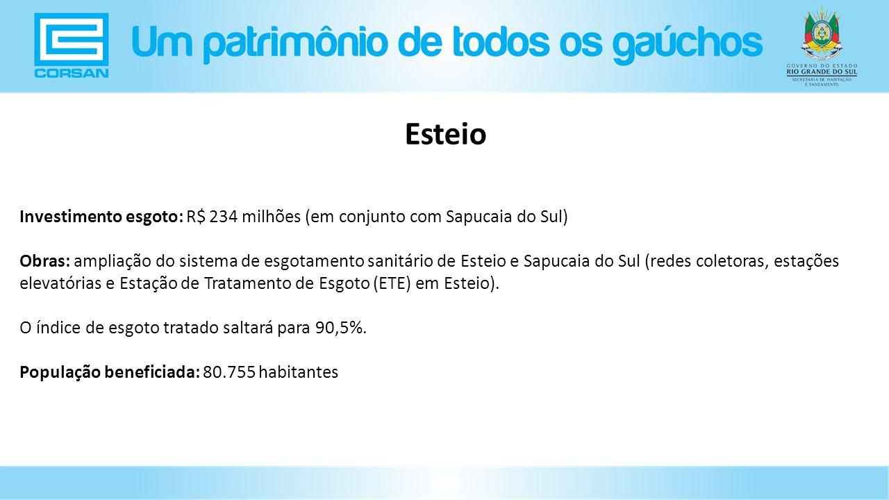 Investimento esgoto: R$ 234 milhões (em conjunto com Sapucaia do Sul) Obras: ampliação do sistema de esgotamento sanitário de Esteio e Sapucaia do Sul (redes coletoras, estações elevatórias e Estação de Tratamento de Esgoto (ETE) em Esteio).