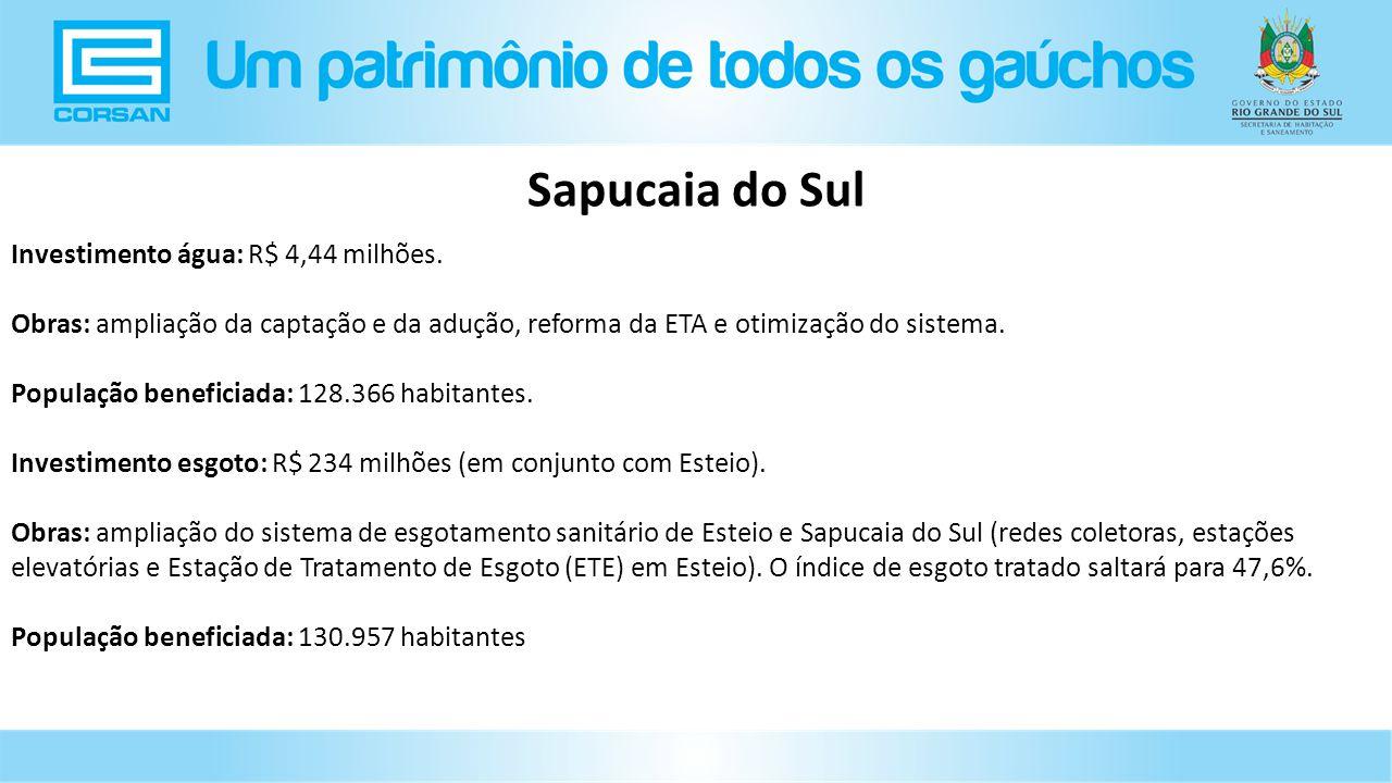 Investimento água: R$ 4,44 milhões.