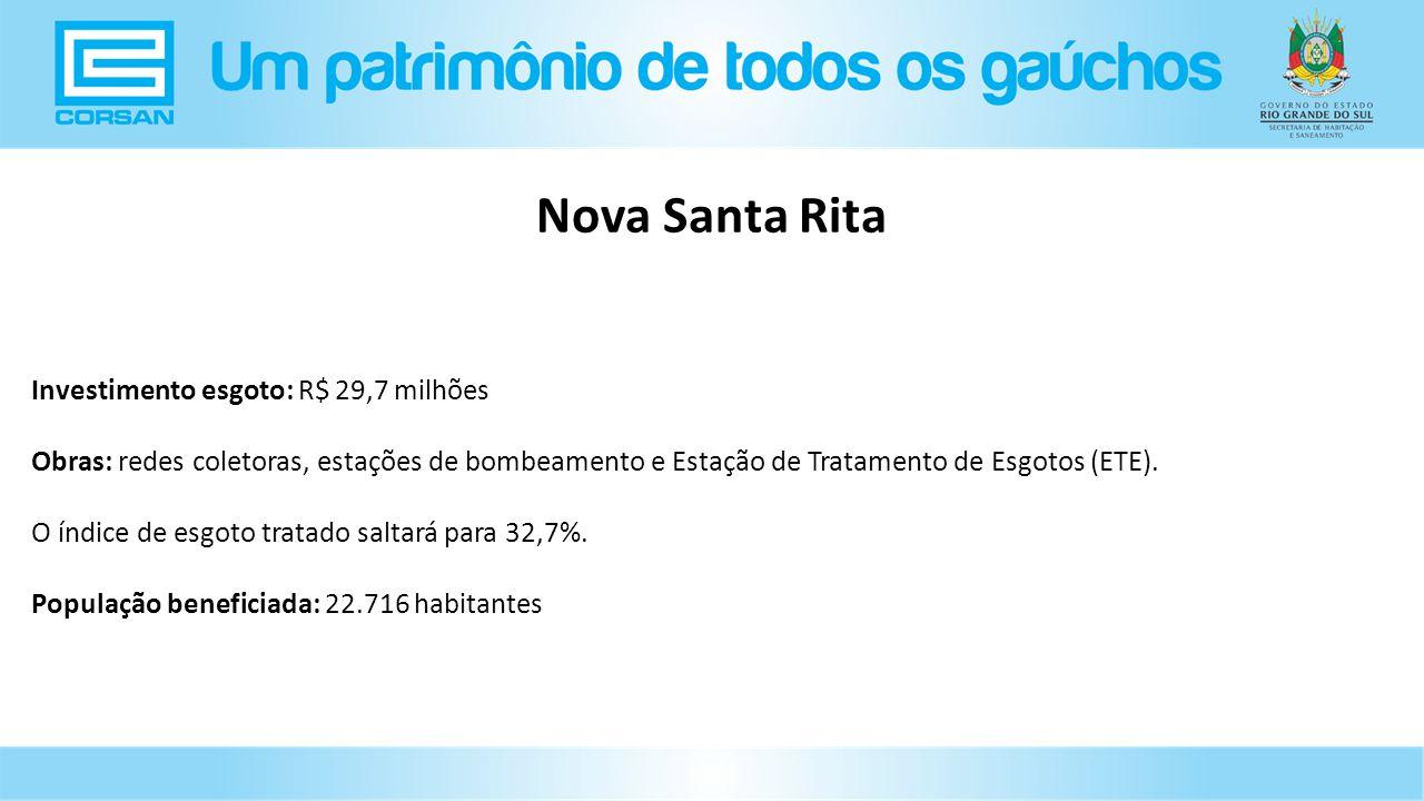 Investimento esgoto: R$ 29,7 milhões Obras: redes coletoras, estações de bombeamento e Estação de Tratamento de Esgotos (ETE).