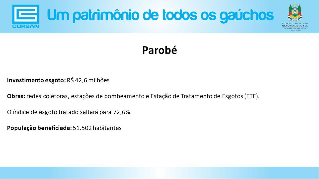 Investimento esgoto: R$ 42,6 milhões Obras: redes coletoras, estações de bombeamento e Estação de Tratamento de Esgotos (ETE).