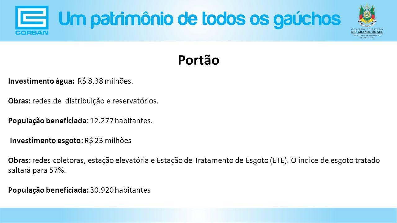 Investimento água: R$ 8,38 milhões.Obras: redes de distribuição e reservatórios.