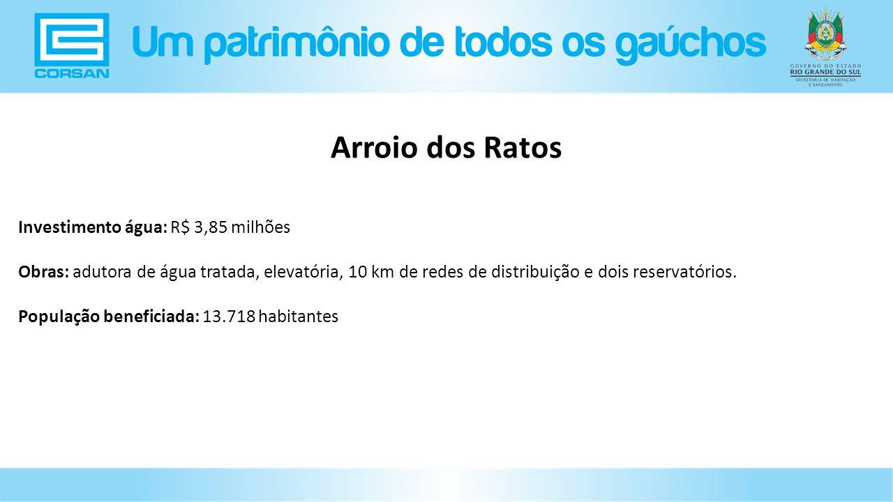 Investimento água: R$ 3,85 milhões Obras: adutora de água tratada, elevatória, 10 km de redes de distribuição e dois reservatórios.