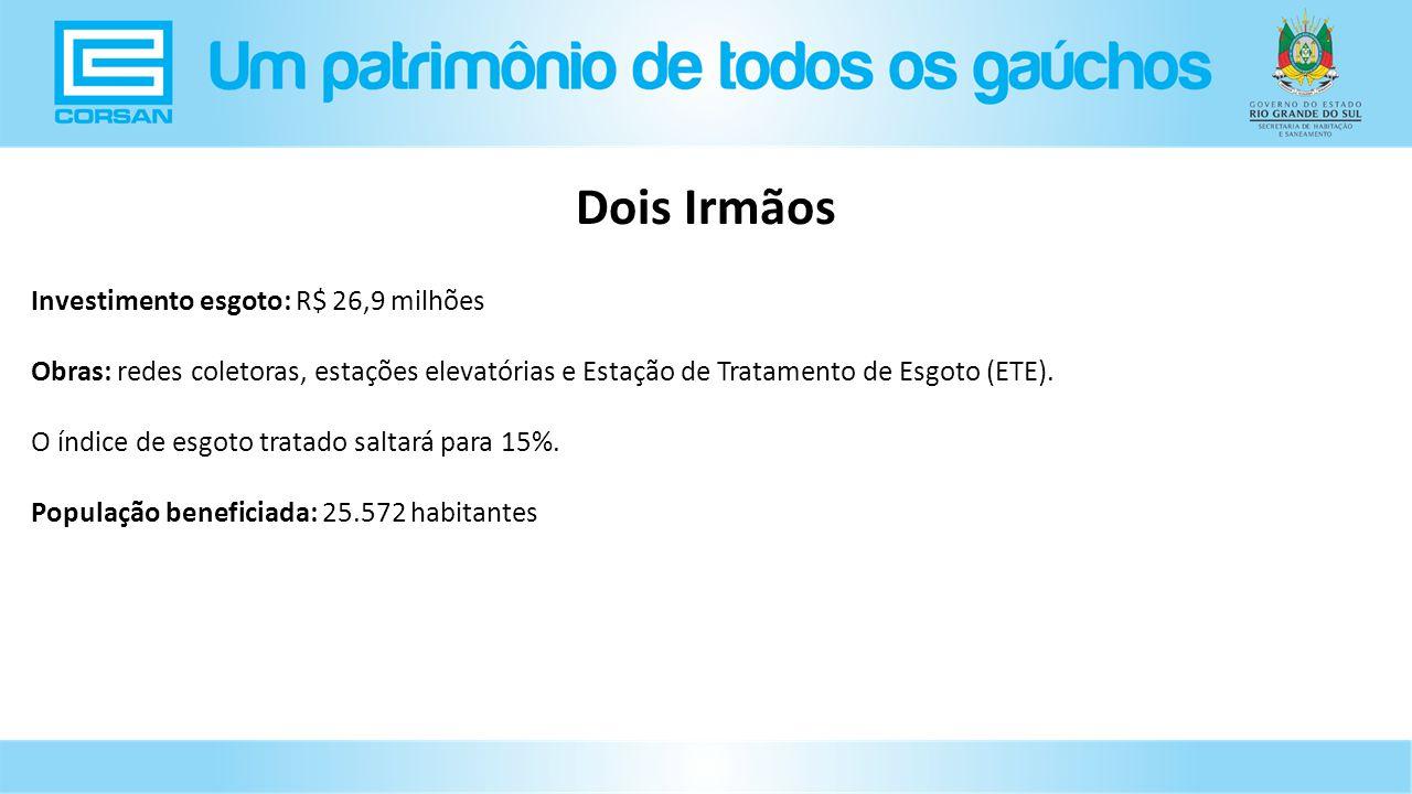 Investimento esgoto: R$ 26,9 milhões Obras: redes coletoras, estações elevatórias e Estação de Tratamento de Esgoto (ETE).
