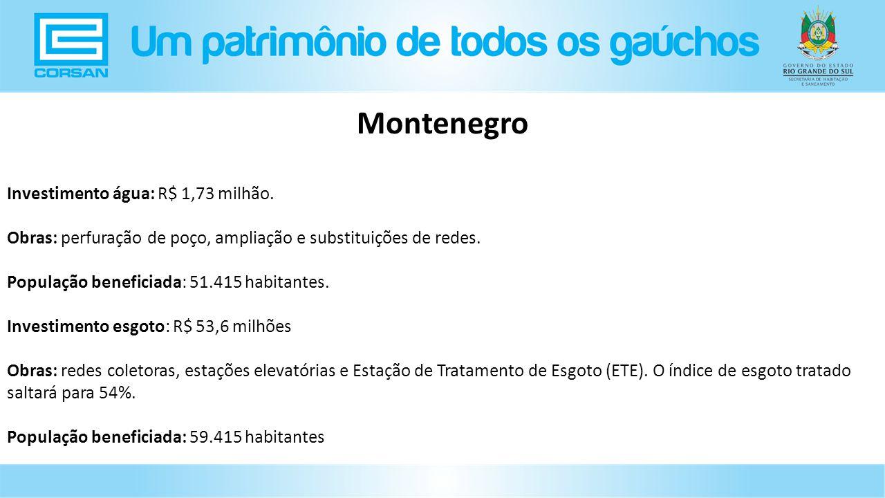 Investimento água: R$ 1,73 milhão.Obras: perfuração de poço, ampliação e substituições de redes.