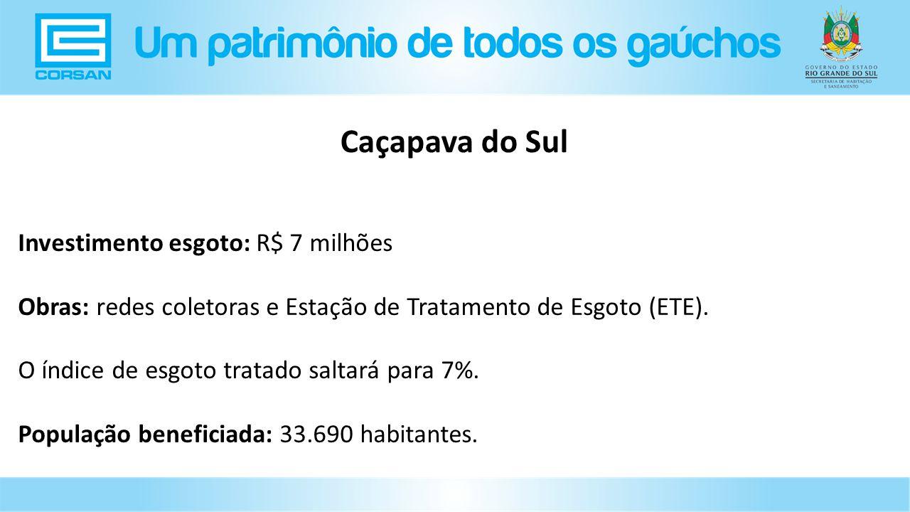 Investimento esgoto: R$ 7 milhões Obras: redes coletoras e Estação de Tratamento de Esgoto (ETE).