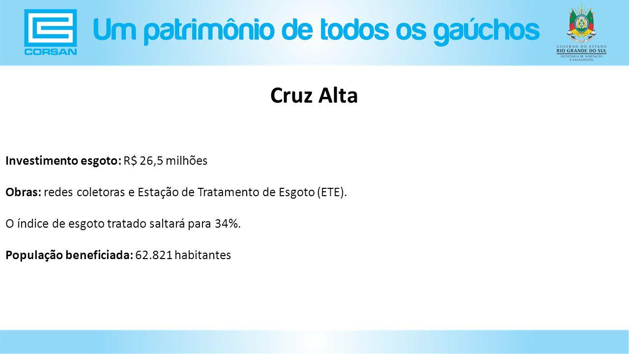 Investimento esgoto: R$ 26,5 milhões Obras: redes coletoras e Estação de Tratamento de Esgoto (ETE).