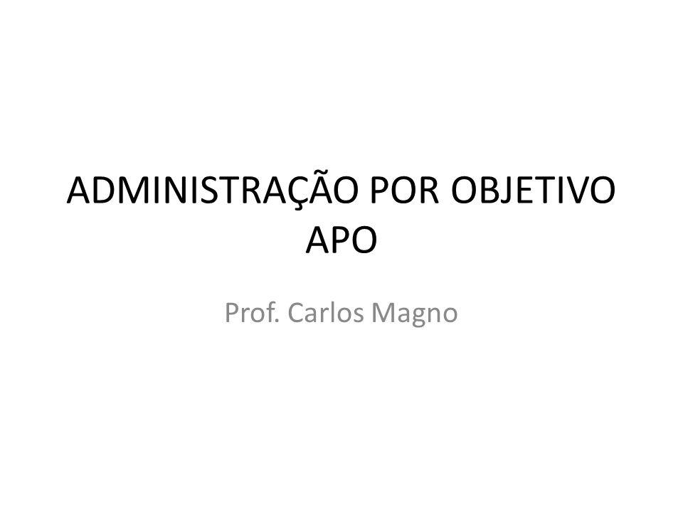 ADMINISTRAÇÃO POR OBJETIVO APO Prof. Carlos Magno