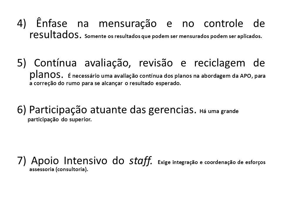 4) Ênfase na mensuração e no controle de resultados. Somente os resultados que podem ser mensurados podem ser aplicados. 5) Contínua avaliação, revisã