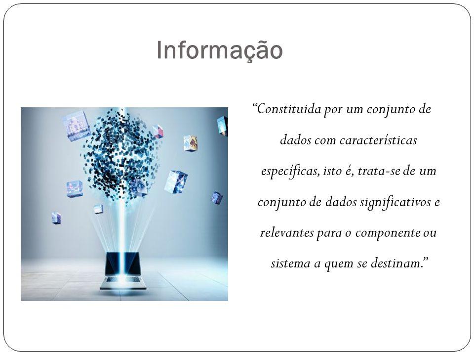 """Informação """"Constituida por um conjunto de dados com características específicas, isto é, trata-se de um conjunto de dados significativos e relevantes"""