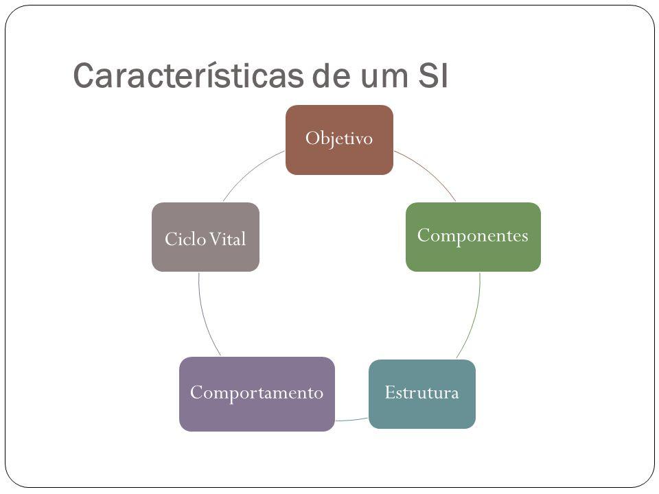 Características de um SI ObjetivoComponentesEstrutura Comportamento Ciclo Vital