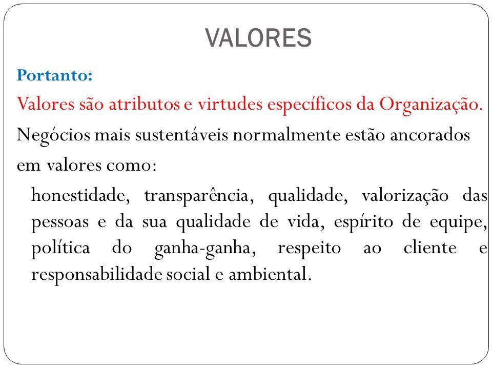 VALORES Portanto: Valores são atributos e virtudes específicos da Organização.