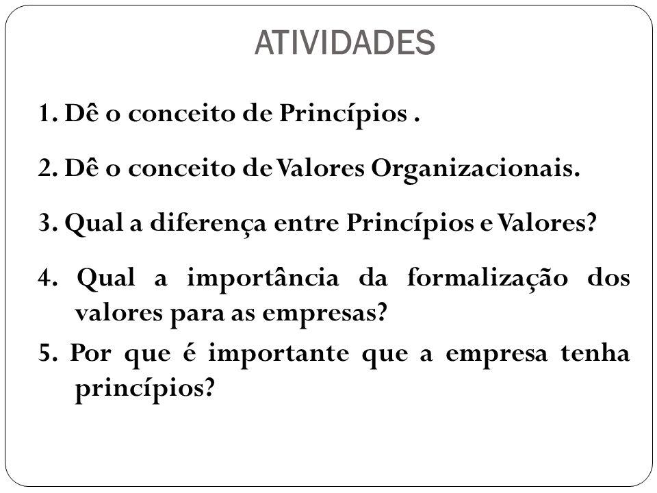 RESPOSTAS 1.Dê o conceito de Princípios.
