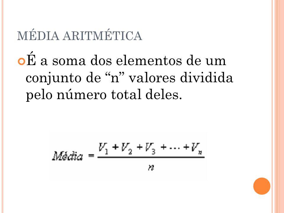 """MÉDIA ARITMÉTICA É a soma dos elementos de um conjunto de """"n"""" valores dividida pelo número total deles."""