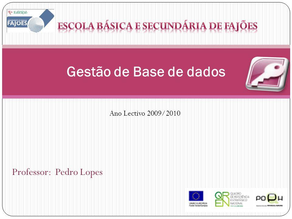 Professor: Pedro Lopes Gestão de Base de dados Ano Lectivo 2009/2010